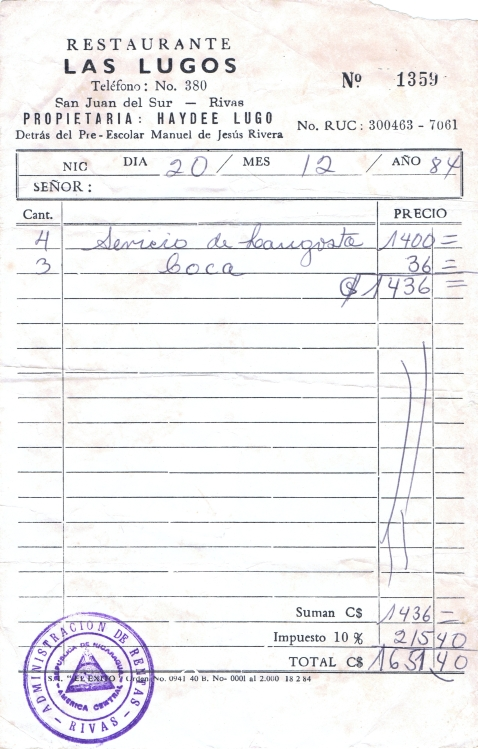 Las Lugos Restaurant Receipt, Dec 1984.