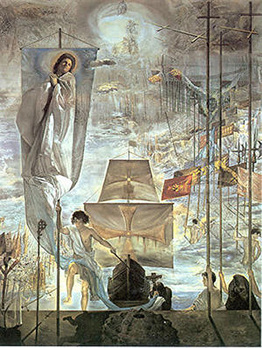The Discovery of America by Christopher Columbus (1959), Salvador Dalí Museum, St. Petersburg, Florida. (Source: Wikipedia).