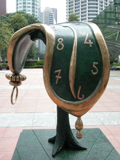 Dali's Melting Timepiece on display in Singapore in 2006. Profile of Time (1977 - 1984), Dalì Sculpture Collection.
