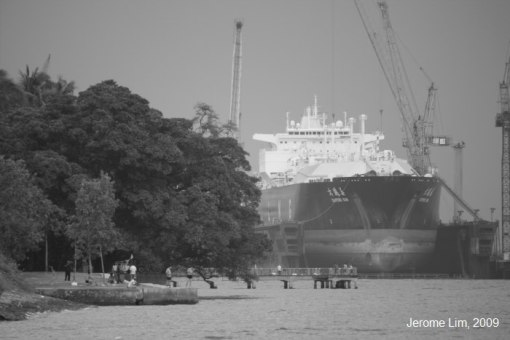 View of the Jetty, Sembawang Park and the Shipyard from the sea wall.