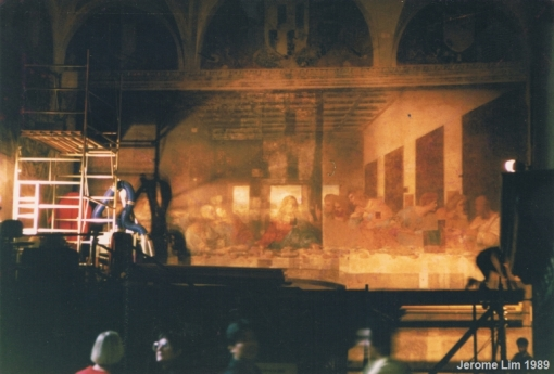 Leonardo's L'Ultima Cena undergoing restoration in the dining hall of the Santa Maria delle Grazie, Summer 1989