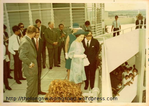 The Queen at the Viewing Gallery on the roof of Block 53 Toa Payoh