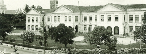 The former Raffles Institution as seen from Beach Road, 1975.