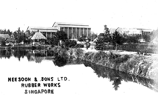 An old postcard of Lim Nee Soon's rubber factory and the surrounding area.