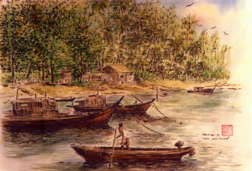 The idyllic setting of Mata Ikan village as captured by Singapore artist Harold Ong.