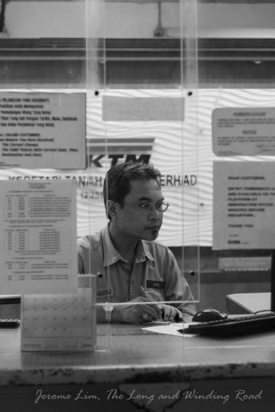 A very helpful ticketing clerk, En. Azmi, who was posted to the station on 1st July 1990. He completed a full 21 years at the station when it ceased operations on 30th June 2011.