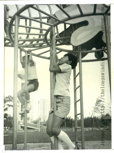 Climbing the dragon at Toa Payoh Town Garden, 1975.