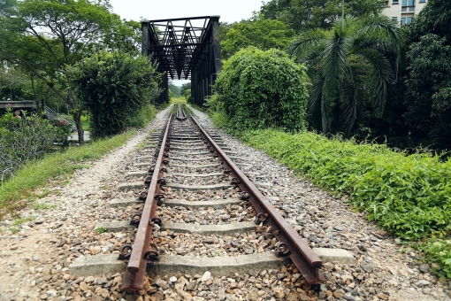 The tracks along much of the rail corridor has since been removed with only short sections such as this one at the truss bridge at close to Bukit Timah Railway Station left behind.