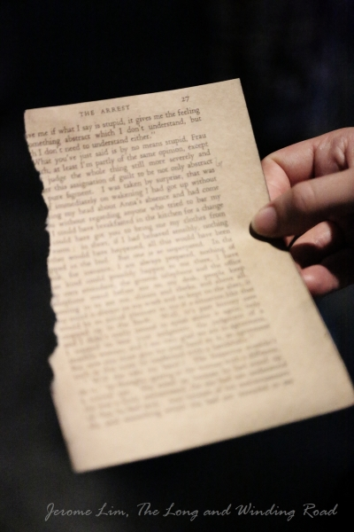 A page from Kafka's The Trial ... discovered on the secret travelator.