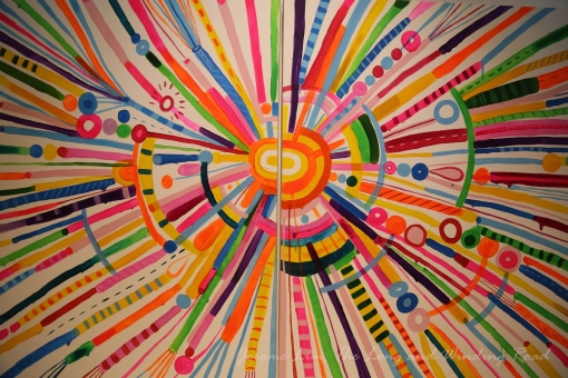 Detail of 'The Search for Happiness' - an abstract piece by Eeshaun in the offices of Google Singapore.
