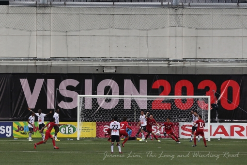 LionsXII players celebrate Safuwan Baharudin's equaliser.