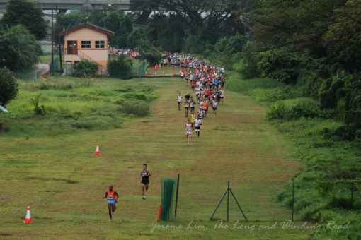 7.20 am : The first runners are seen already building up a lead over the chasing pack.
