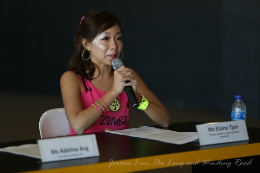 Ms Elaine Tjon a member of the PAssion Zumba Community sharing her experience at the media conference.