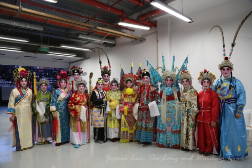 Members of the Queenstown CC Cantonese Opera troupe pose for a photograph before the rehearsal.