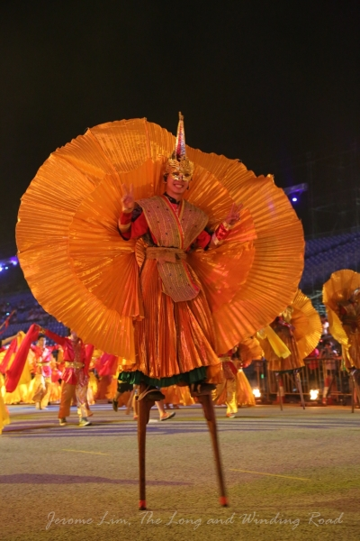 The carnival -like street parade Chingay is today. A less than traditional looking stilt-walker seen during the rehearsal for Chingay 2013.
