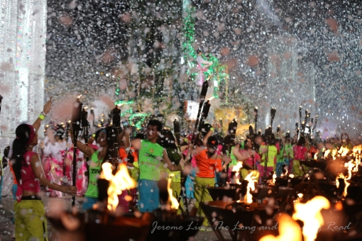 """The spectacular closing sees """"snow"""" falling on the parade."""
