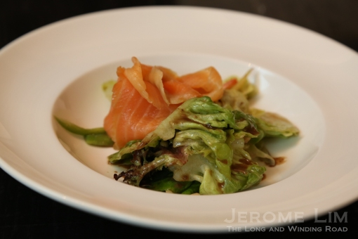 The smoked salmon salad with a walnut sauce dressing.