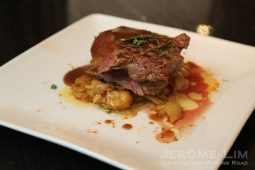 The Valentine's Day menu offers a choice of entrées. The Australian Seared Steak menu costs $45.