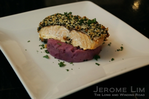 The crusted salmon.