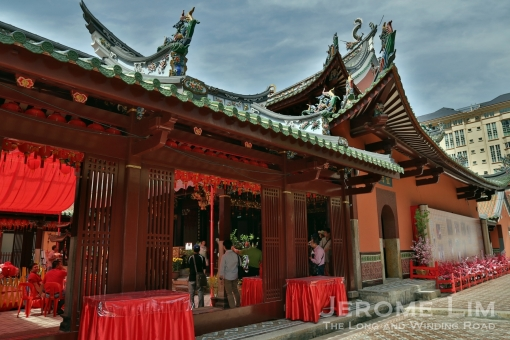 """The side of the main hall of the temple. The temple is a fine example of Minan arhcitecture, characterised by its curved """"swallow-tail"""" roof ridge."""