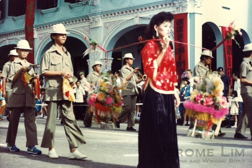 Chingay in 1985 seen passing Peranakan Place.
