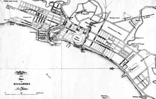 The Jackson Plan of 1822 shows the location of Telok Ayer Street relative to the shoreline.