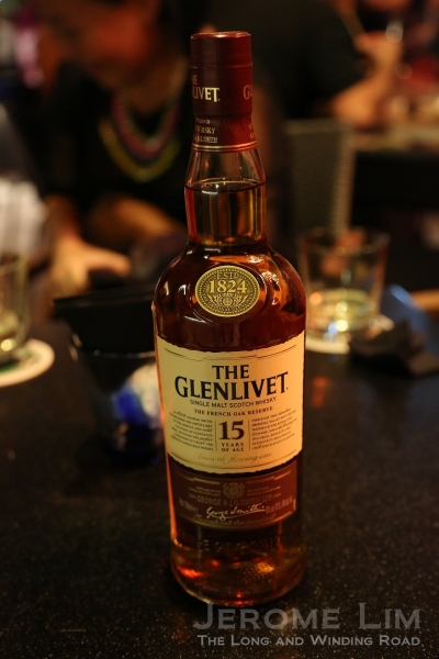 A bottle of The Glenlivet 15 year old at the launch event.