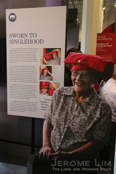 Exhibition panels featuring former Samsui woman, Mdm Ng Moey Chye, 81, who was actually the daughter of another Samsui woman.