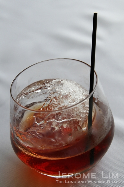 "Which is paired with ""Inside The Rocks"": a cocktail of dry orange, molasses sugar, herbs and Martell Cordon Bleu."