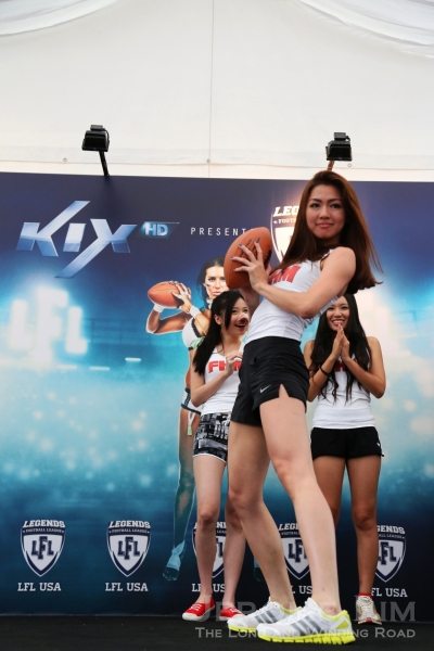 Three FHM models were taught the various positions used by the three LFL players and were also asked to show some of their own touchdown celebrations.
