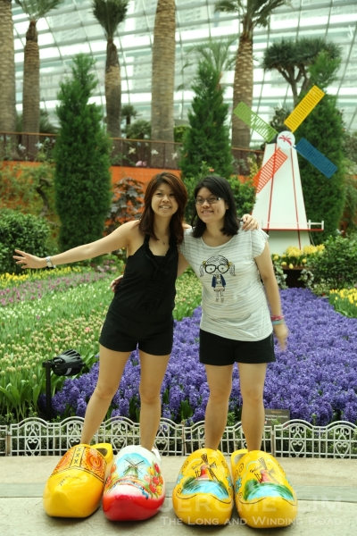 Visitors can pose for a photograph in front of the Flower Field wearing giant wooden clogs.