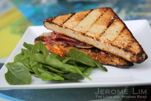 Grilled Olive Bread Stuff With Manchego Cheese And Serrano Ham, BabySpinach Salad.