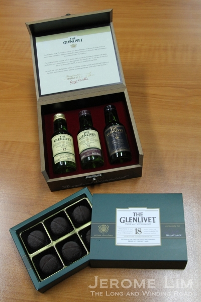 For a limited period only, every purchase of a bottle of The Glenlivet 15 or The Glenlivet 18 at Balaclava Live comes with a box of The Glenlivet infused chocolates (box below) - mmm!