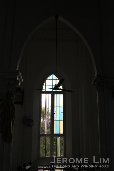 Coloured glass windows.