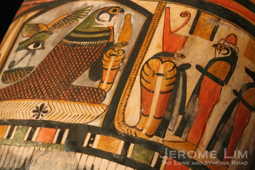 Detail on the painted cartonnage case of the mummy of Nesperennub.