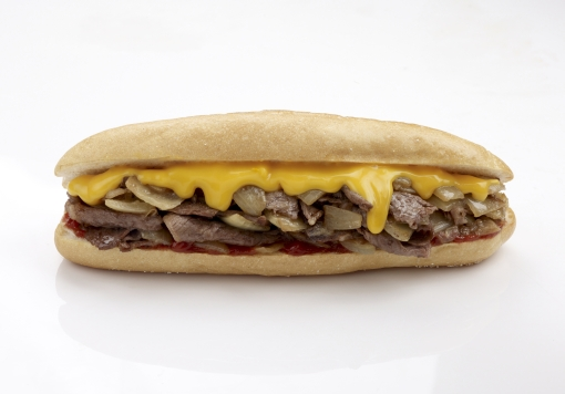 The menu is built around a Philly icon, the cheesesteak.