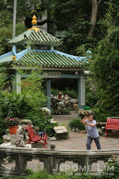 A lady practicing tai-chi chuan at the garden.