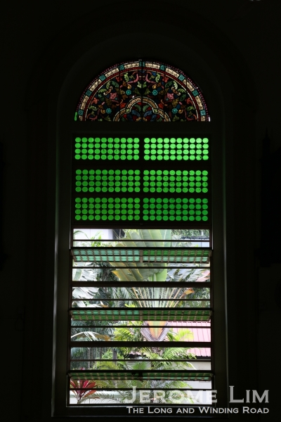 A view through a window along the nave.