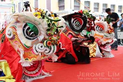 Lion dance lions await the eye-dotting ceremony which brings them to life.