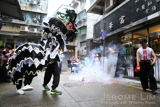 A lion dance follows the participants.