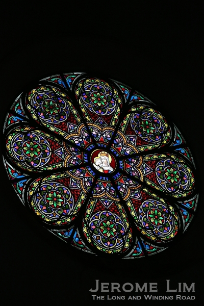 A stained glass rose window.