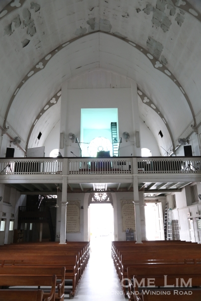 The choir loft at the end of the nave.