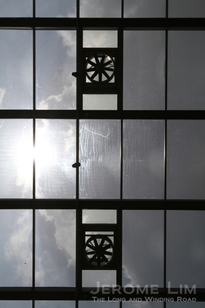 A glass ceiling added at the original buiding's rear.