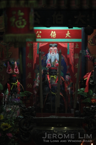 An image of the Earth Deity, Tua Pek King at the main altar of the Pulau Ubin Tua Pek Kong Temple.