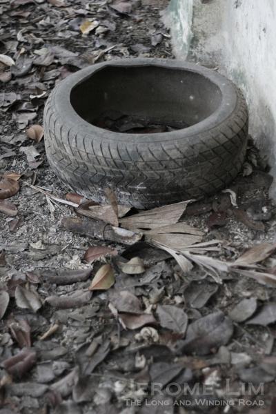 A tyre along a corridor.