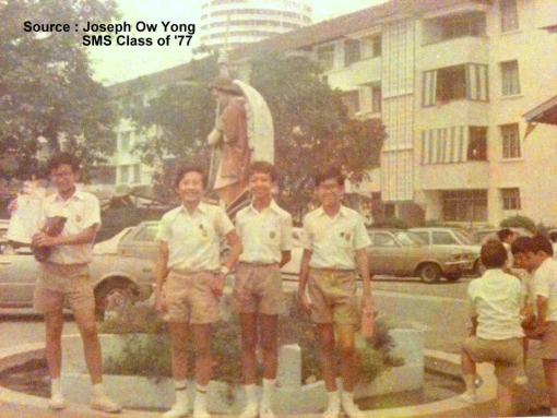Many will remember the little roundabout with statue of St. Michael slaying the serpent (photograph posted by Joseph Ow Yong on the SMSAA Facebook Group).