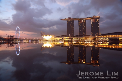 Marina Bay seen through the light rain at 6.30 am on 2 June 2013.