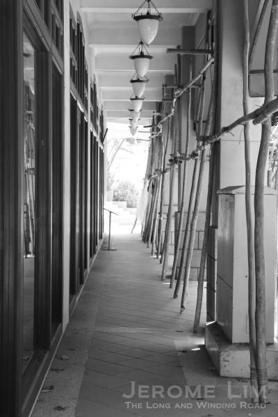 Scaffolds along the corridor of the Airview Building.