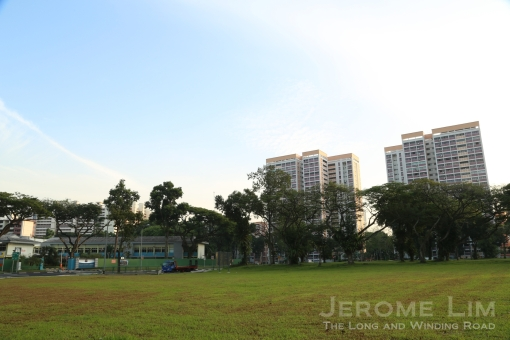 A view northwards across the plot of land from where the Esso Service Station was. The Toa Pyoah Police Station (now Police Security Command) can be seen across Lorong 4 on the left - both that piece of land and the empty plot played host to trade fairs in the late 1960s and early 1970s.