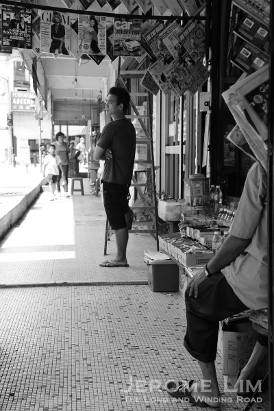 A five-foot-way along Jalan Sultan with a hole-in-the-wall shop still commonly found along many such corridors.
